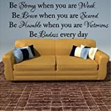 Vinyl Lettering Design Creations Be Strong, Brave, Humble & Badass Every Day Fun Vinyl Wall Decal-Large Decal Lettering Words-14''H x 38''W