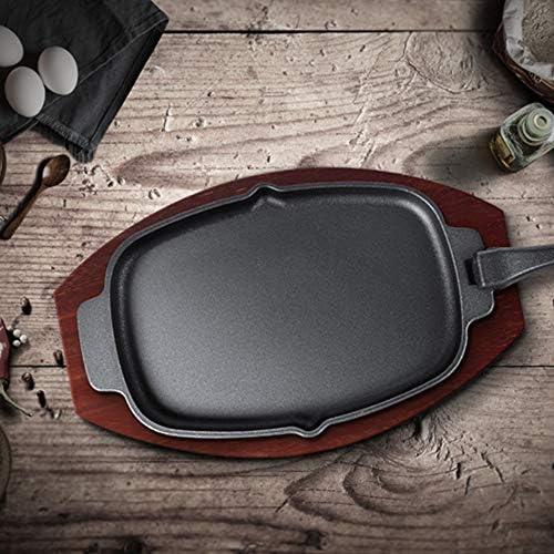 鋳鉄ステーキプレート、木製ベースの楕円形の焼けるようなフライパン、ホームレストランのキッチンクッキンググリドル、肉のグリル用シーフード加熱