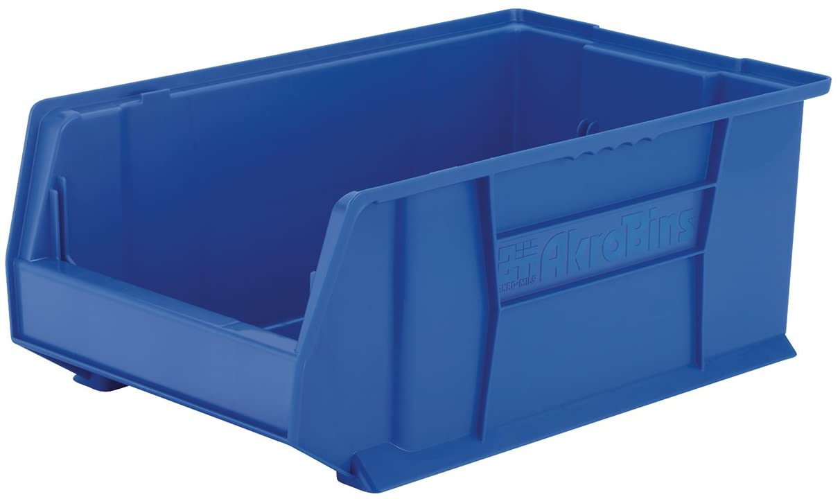 Akro Mils 30281 Super Size Akrobin Heavy Duty Stackable Storage Bin Plastic Container 20 Inch L X 12 Inch W X 8 Inch H Blue 3 Pack Open Home Storage Bins Amazon Com