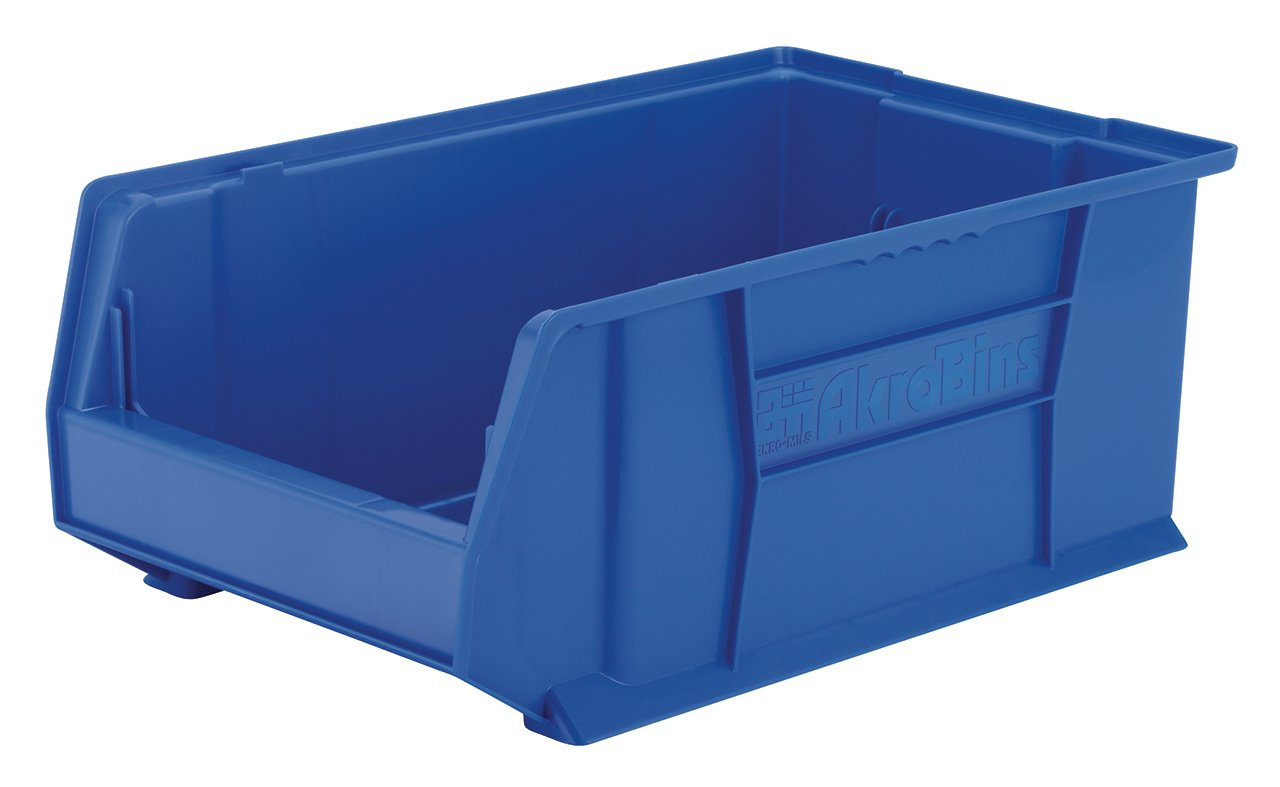 Akro-Mils 30281 20-Inch D by 12-Inch W by 8-Inch H Super Size Plastic Stacking Storage Akro Bin, Blue, Case of 3