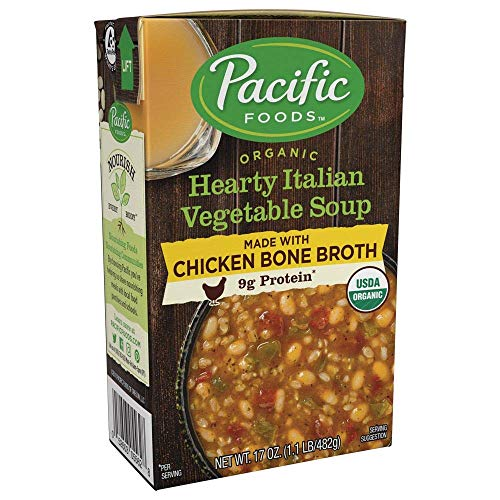 Pacific Foods Organic Bone Broth Hearty Italian Vegetable Soup, 9g protein per serving, nourishing and flavorful, 12-pack