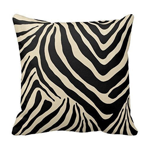 Crystal Emotion Black and Beige Zebra Stripes Pattern Design Pillow Cover Case Home Decorative Square -