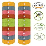 Pack of 20 Mosquito Repellent Bracelets - Natural Deet Free Insect & Bug Repellent Bands, Individually-Wrapped Wristbands, Microfiber Adjustable Button Bands for Kids & Adults by Gogogu