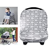 YOOFOSS Nursing Breastfeeding Cover Scarf - Baby Car Seat Canopy, Shopping Cart, Stroller, Carseat Covers for Girls and Boys - Best Multi Use Infinity Stretchy Shawl (Gray Arrow)