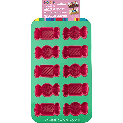 Wilton 2105-4160 Bar Multi 10 Cavity Dylan's Wrapped Candy Shaped Mold, Pink