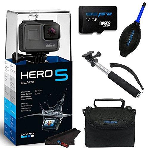 GoPro Hero 5 Black + 16GB SD Memory Card + Selfie Stick + Accessory Bundle …