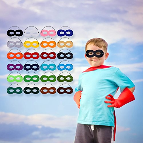 Mask Craft Kit (Superhero Masks Cosplay Half Party Eye Hero Felt Masks with Elastic Rope for Kids Party Halloween Christmas 24 Pack)