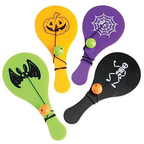 (U.S. Toy Lot of 12 Assorted Halloween Theme Plastic Mini Paddle Ball)