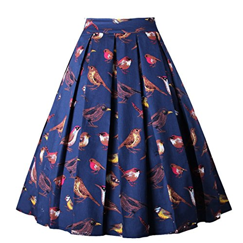 - Dresstore Vintage Pleated Skirt Floral A-line Printed Midi Skirts with Pockets Singing-Birds-3XL