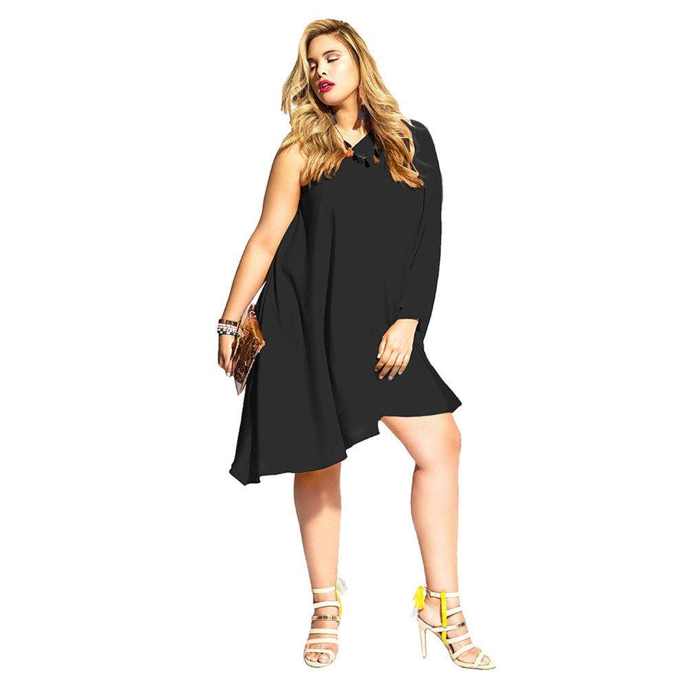 DaBag- Damen Plus Size One Shoulder-Kleider Loose Abendkleider ...