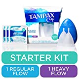 Tampax Menstrual Cups Starter Kit, Tampon Alternative, Heavy and Regular Flow Multipack, Reusable, 12 Hours of Flexible Comfort-fit Protection, with Free Always Wipes and Liners
