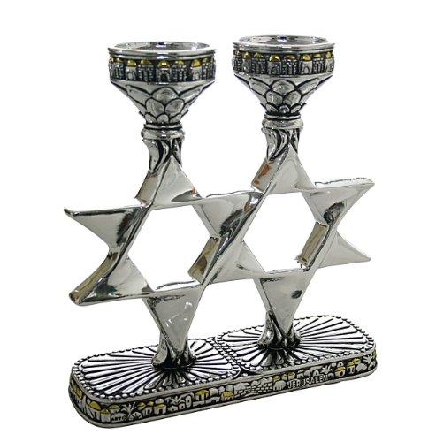 Kosher CANDLESTICKS HOLDERS MAGEN DAVID