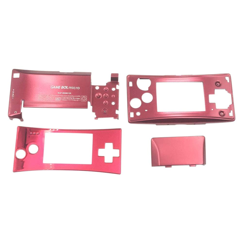 Xingsiyue Housing Shell Kit for Nintendo Gameboy Micro GBM - 4PCS Repair Front Faceplate Bottom Housing Case Cover Parts(Red)