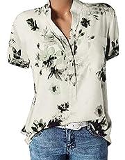 FMYONF Dames oversized tops, zomer bloemenprint shirt knoopsluiting tuniek blouse oversized losse top korte mouwen V-hals hemdblouse longshirt shirt T-shirt