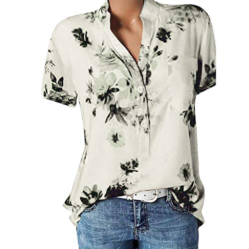 vermers Womens Plus Size Blouses Casual Floral Printing Pocket Short Sleeve Button Shirts Easy Tops T-Shirt(3XL, White)