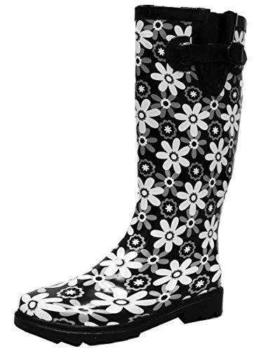 Cambridge Select Women's Pattern Print Colorful Waterproof Welly Rain Boots,9 M US,Black Flowers Print ()