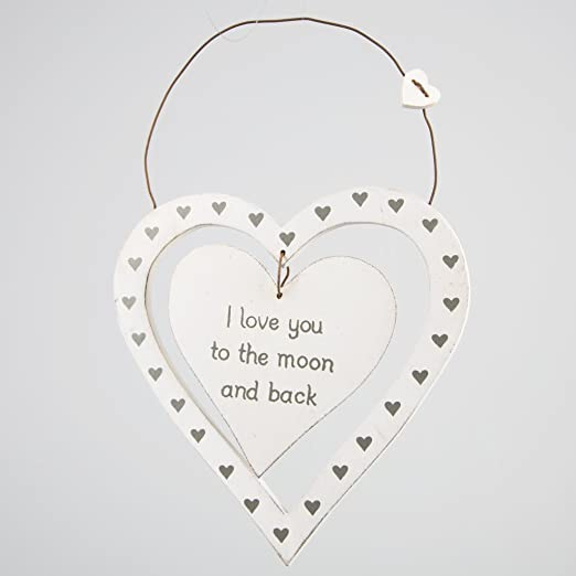 Sass y Belle con cartel y texto I love you to the moon and back