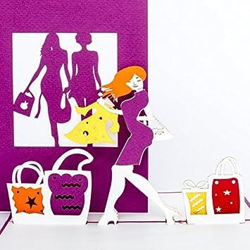 Pop Up Karte Shopping 3d Grusskarte Geburtstagskarte Gutschein