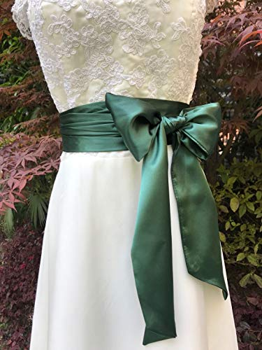 - Special Occasion Dress sash Bridal Belts Wedding sash 4'' Wide Double Side (Emerald)