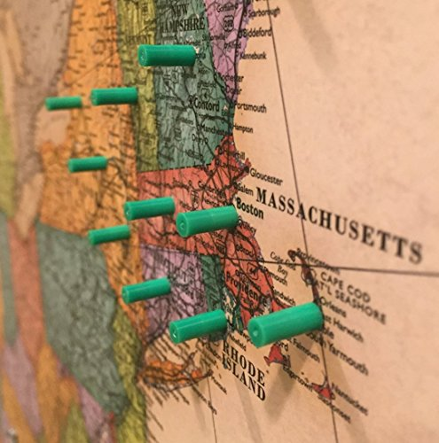 Map Magnets - 40 Magnetic Push Pins in Green - Tiny Colorful Map Magnets Perfect for Marking Travels or Decorating a Home or Office