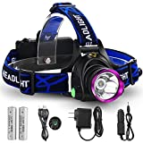 GRDE 3 Modes Bright LED Headlamp Waterproof Head Light with Rechargeable ...