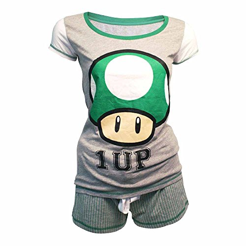 One Up Mushroom Costume (NINTENDO Super Mario Bros 1-Up Mushroom Shortama Nightwear Set (X-Large, Grey/Green))