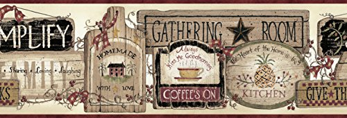 - Chesapeake BBC20061B Alfred Gathering Room Signs Wallpaper Border, Gold