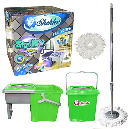 System Polish - Microfiber Spin Mop Wringer with Bucket by Shehlev Little Twister Compact Store Away Floor Cleaning System With 2X Mop Heads