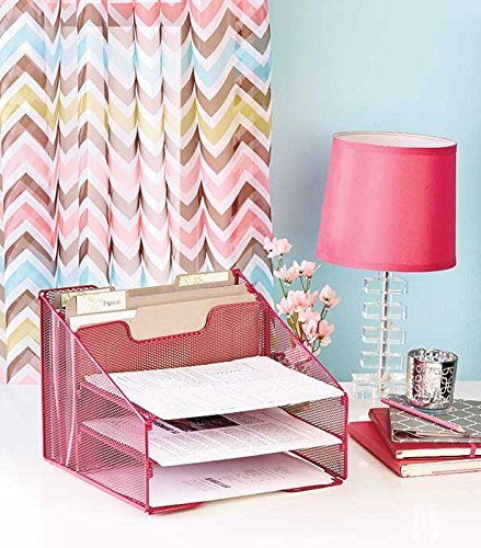 Pink 5-Compartment Desktop File Organizer GetSet2Save