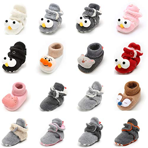 Baby Boys Girls Cozy Fleece Booties With Non Skid Bottom Infant First Walker Sock Shoes (12cm(6-12 months), D-White)