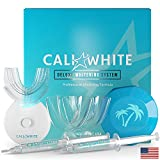 Cali White Vegan Teeth WHITENING KIT with LED Light, Made in USA, Natural & Organic Peroxide Gel, Professional Dental Whitener, Best Home HISMILE System: 2X 5mL Syringes, Custom Trays, Palm Case