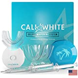Cali White VEGAN TEETH WHITENING KIT with LED Light, Made in USA, Natural & Organic Peroxide Gel, Professional Dental Whitener, Best Home HISMILE System: 2 X 5mL Syringes, Custom Trays, Retainer Case
