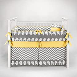 Elephant Chevron Zig Zag Gray & Yellow Baby Bedding - 5pc Crib Set by Sofia Bedding Boy or girl - unisex