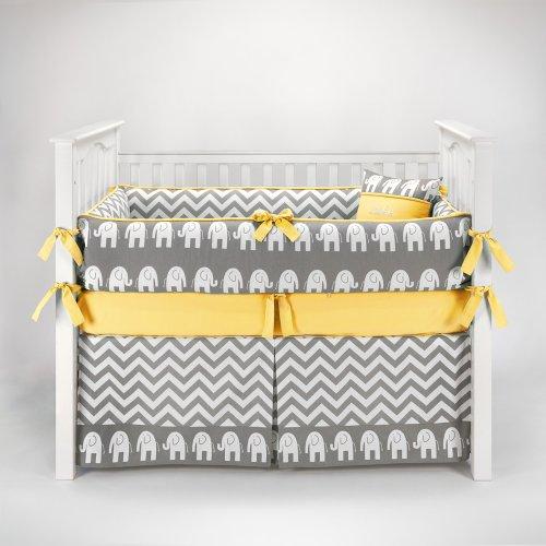 Elephant Chevron Zig Zag Gray & Yellow Baby Bedding - 5pc Crib Set by Sofia Bedding