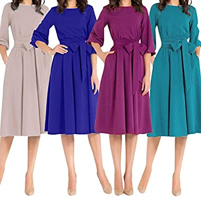 Dresses for Womens,DaySeventh Women Fashion Solid Long Sleeve Deep Round Neck Belt Dress