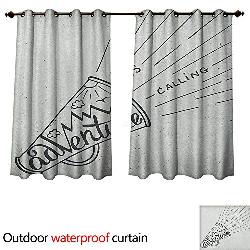 Mouthpiece Angled - Adventure Outdoor Ultraviolet Protective Curtains Adventure is Calling Mouthpiece Mountains Birds and Sun Black and White Design W63 x L63(160cm x 160cm)