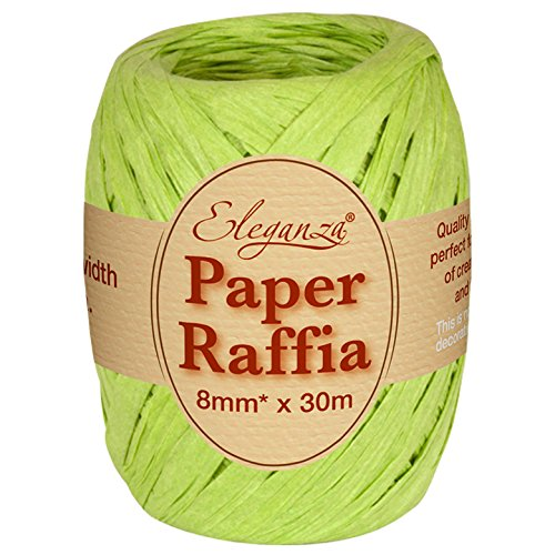 Eleganza 8 mm x 30 m Paper Raffia for Variety of Craft Projects and Gift Wrapping, No.14 Lime Green Oaktree UK 630000