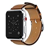 yearscase 42MM Retro Vintage Genuine Leather iWatch Strap Replacement Compatible Apple Watch Band Series 3 Series 2 Series 1 Nike+ Hermes&Edition - Brown