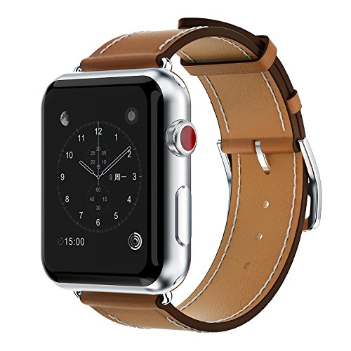 Yearscase 42MM Genuine Leather Replacement Band with Classic Metal Adapter Clasp Single Tour for Apple Watch Series 3 Series 2 Series1 Nike+ Hermes&Edition - Brown Leather Replacement