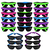 Neon Sunglasses 80's Party | 24 Pack | Retro Wayfarer Style Shades | Party Pack Favors for Goody Bags, Graduations, Birthdays | Photo Booths, Bachelorette, Bachelor Parties | Adults – Kids Assorted