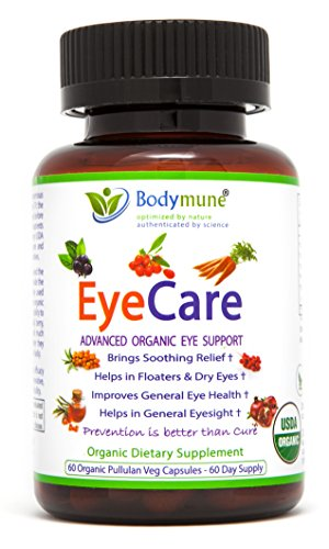 Natural Eye Care Supplement | Eye Floaters | Dry Eyes | Eyesight Eye Health Nutrition | Organic Synergistic Blend by Bodymune | 2 Month Supply | Maqui Carrot Goji Schisandra | Vegan Gluten-Free