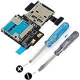MMOBIEL Support / Lecteur carte micro-SIM et micro-SD pour Samsung Galaxy S4 i9500 Tray Card Holder Slot Flex Pièce de rechange Incluant 2x tournevis pour installation facile