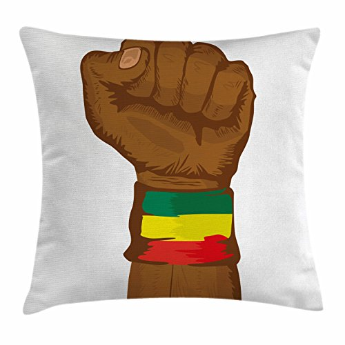 Rasta Throw Pillow Cushion Cover, Ethiopian Rebellion Symbol Wrist with Flag Col -