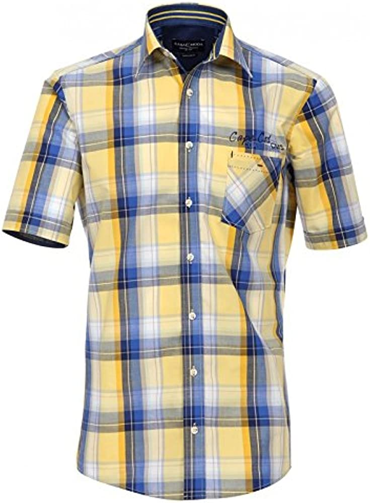 Casa Moda Camisa de Cuadros Manga Corta Amarillo Azul, 2xl-8xl:4XL: Amazon.es: Ropa y accesorios
