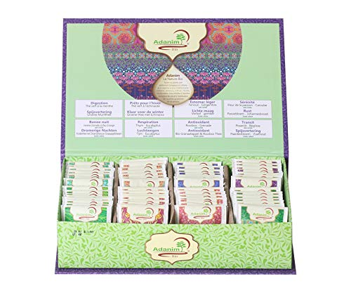 Adanim Bio Organic Line, Gift Tea Box, Assorted Variety Pack of Herbal and Green Tea Blends, 8 Flavors, 8 Count Each, 64 Tea Bags Individually Wrapped in Total