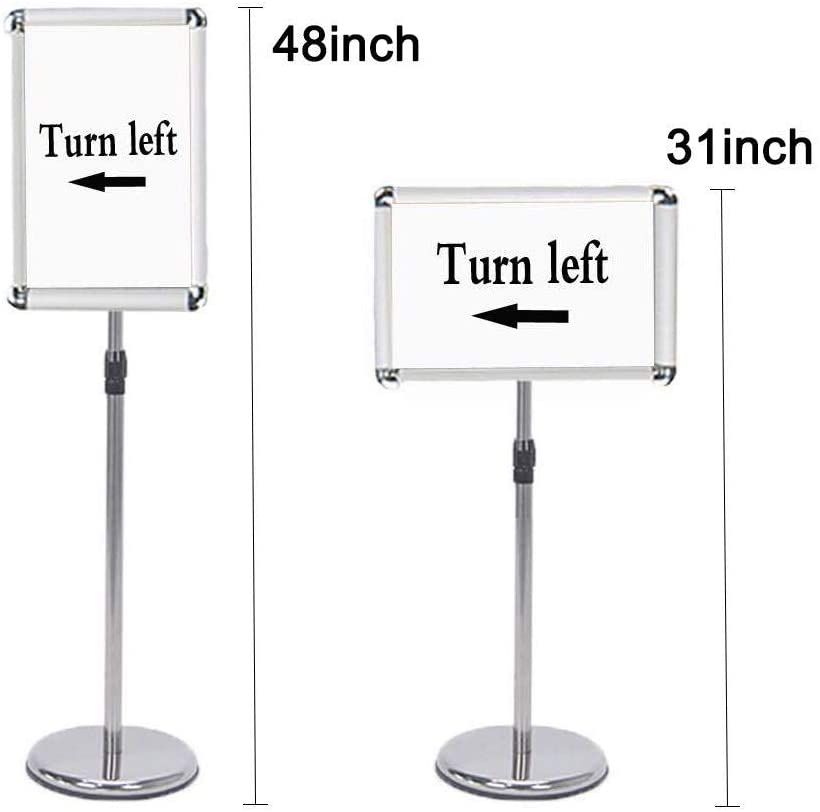 Egeen Pedestal Sign Holder Adjustable Poster Stand Sign Holder Vertical and Horizontal View Display Floor Sign Stand for Display//Advertisement Silver, 11 x 17 inches