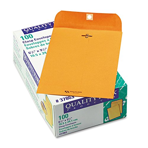 Quality Park 37863 Gummed Clasp Envelope, 28Lb, 6-1/2''x9-1/2, 100/BX, Kraft by Quality Park