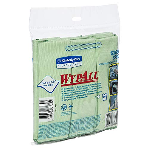 WypAll 83630CT Microfiber Cloths, Reusable, 15 3/4 x 15 3/4, Green (Case of 24)