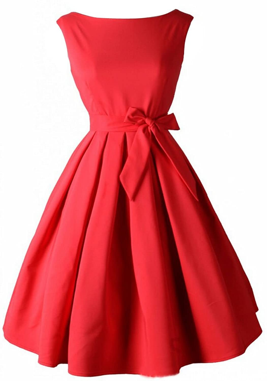 SMITHROAD Damen Hepburn-Stil Retro 50er 60er Kleid Faltenrock Bow Gürtel Rockabilly