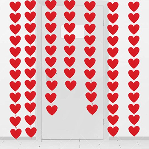 80 Hearts Felt Garland - Valentines Day Red Heart Hanging String Garland - Valentines Day Decorations - Valentine Decorations - DIY Required (Decoration Valentine)